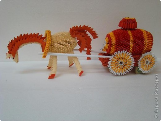 3d origami horse and buggy