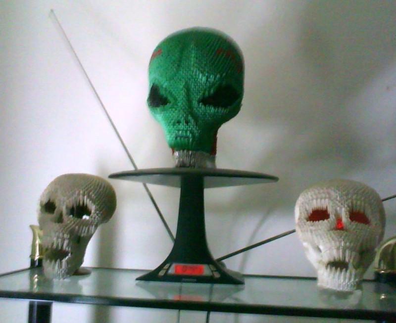 Skulls And Alien 800653 3d Origami Art
